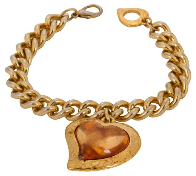 YSL Chain-Link Heart Bracelet