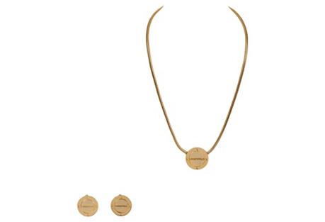 Lagerfeld Goldtone Logo Demi-Parure