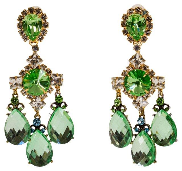 Vrba Green Rhinestone Drop Earrings