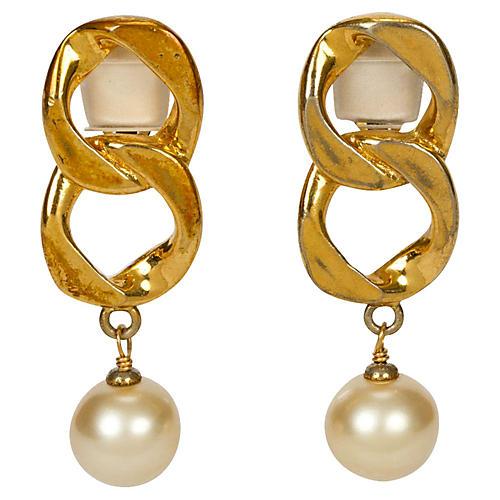 Chanel Chain Faux-Pearl Drop Earrings