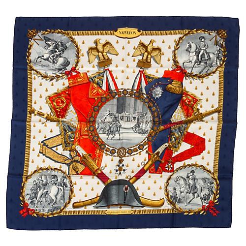 Hermès Navy Napoleon Scarf by Ledoux