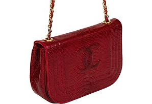 Chanel Rare Red Lizard Evening Bag