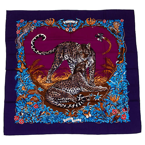 Hermès Blue Jungle Love Cashmere Shawl