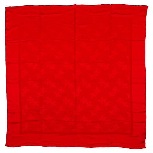 Yves Saint Laurent Red Silk Floral Shawl