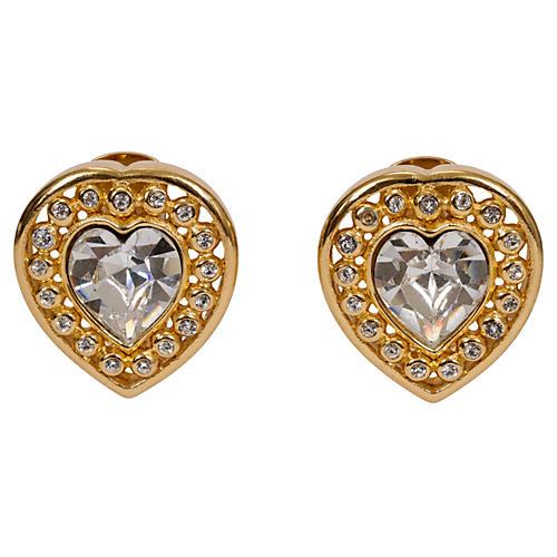 Christian Dior Rhinestone Heart Earrings