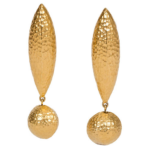 Givenchy Hammered Gold Pierced Earrings
