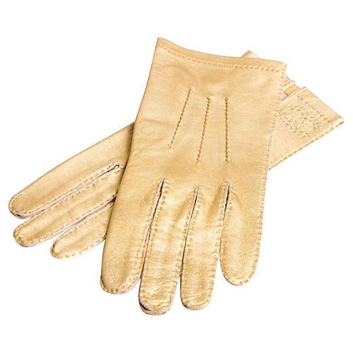 Chanel Gold Lambskin Gloves