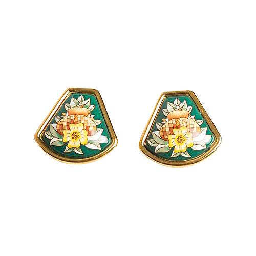 Hermès Green Bouquet Enamel Earrings