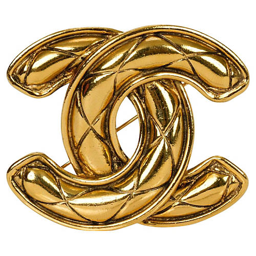 Chanel Large Logo Quilted Pin