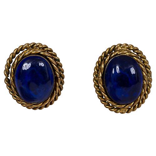Chanel Blue Gripoix Earrings