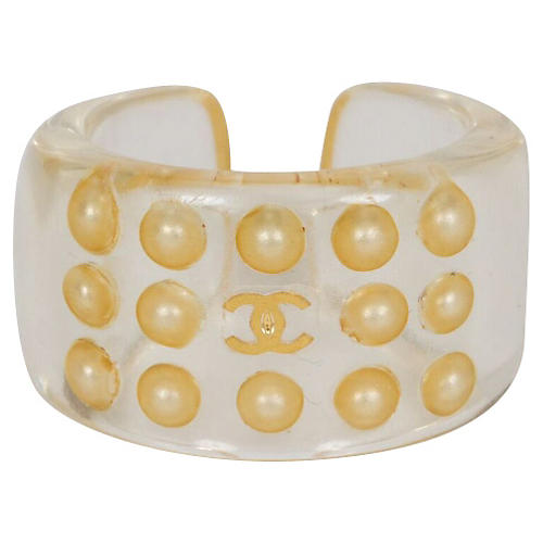 Chanel Lucite & Pearl Ring