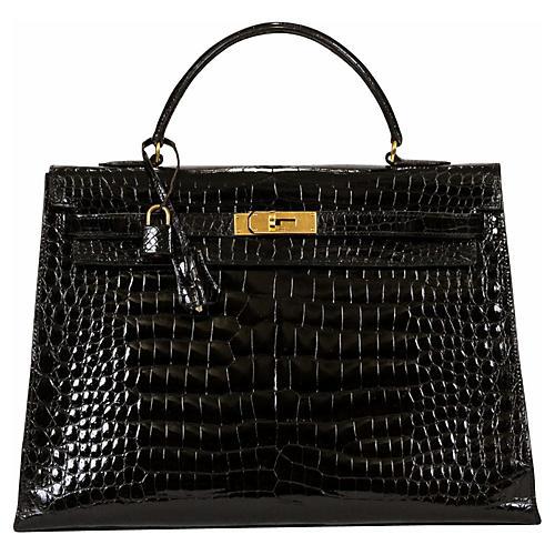 Hermès Kelly 35cm Black Crocodile & Gold