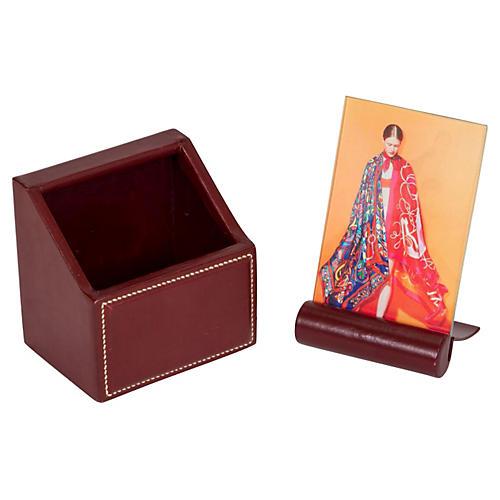 Hermès Red Leather Desk Set