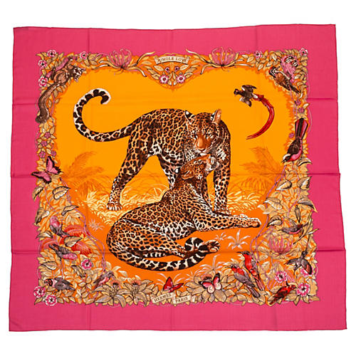 Hermès Cashmere Pink Jungle Love Shawl