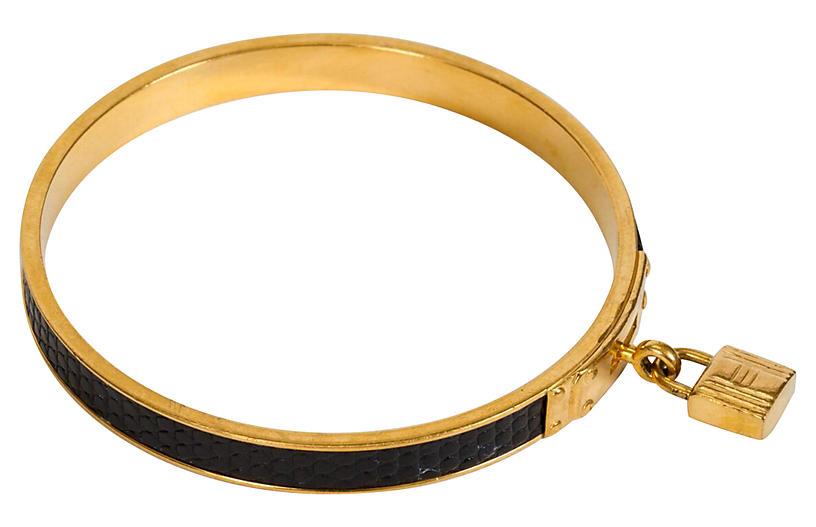 Hermès Black Lizard Cadena Bangle