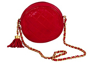 Chanel Round Lambskin Red Evening Bag