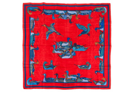 Hermès Poppy Red Silk Duck Scarf
