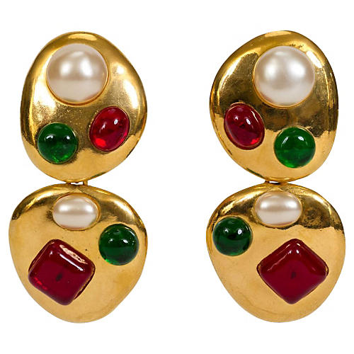 Chanel Gripoix Collectible Drop Earrings