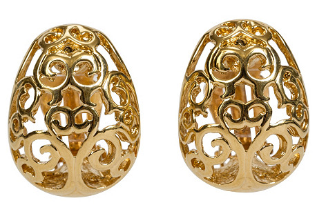 YSL Gold Filigree Clip Back Earrings