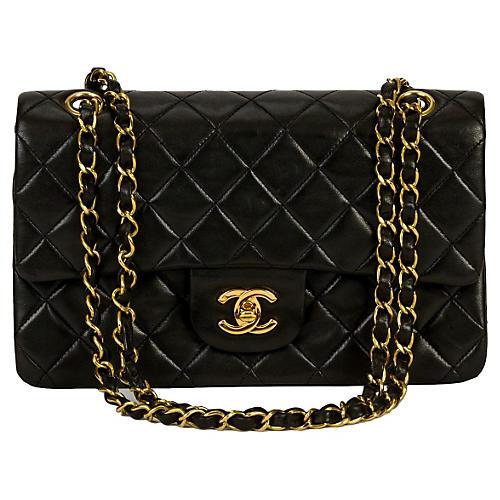 "9"" Chanel Black Classic Double Flap"
