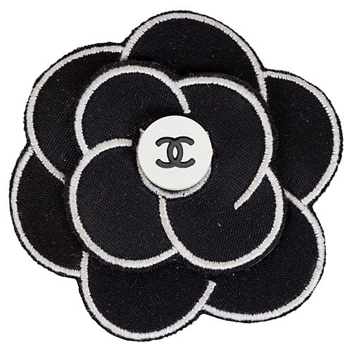 Chanel Black & White Camellia Pin, 1995