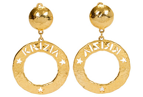 Krizia Gold Hammered Hoop Earrings