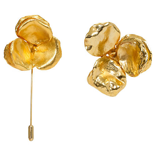 Lanvin Gold Floral Pins, Pair