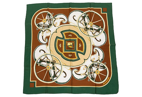 Hermès Washington Carriages Green Scarf