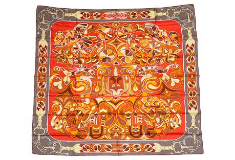 Hermès Orange Folklore Scarf, D'Origny