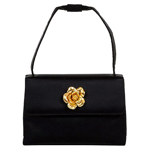 Chanel Black Silk Camellia Evening Bag