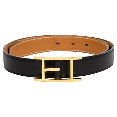 Hermès Simple Black & Gold Belt