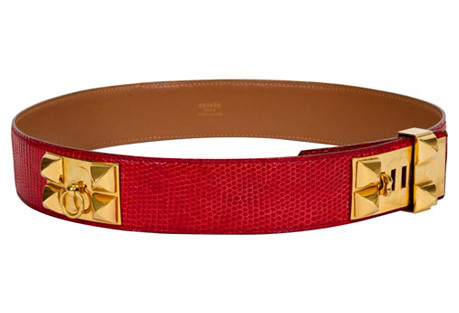 Hermès Red Collier De Chien Lizard Belt