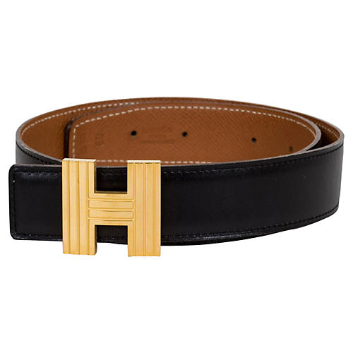 Hermès Reversible Gold & Black H Belt