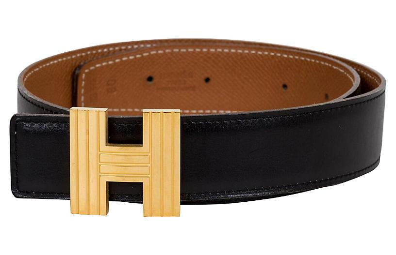 Hermès Reversible Gold & Black H Belt