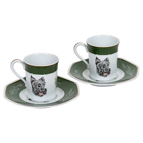 Hermès Scottish Terrier Teacups, S/2