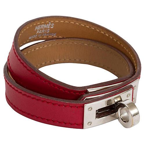 Hermès Red Double-Wrap Kelly Bracelet