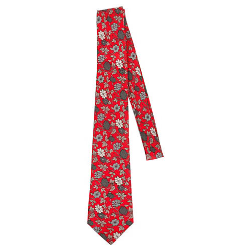 Hermès Red & Gray Flowers Tie