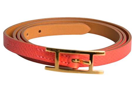 Hermès Rose Jaipur & Gold Wrap Bracelet