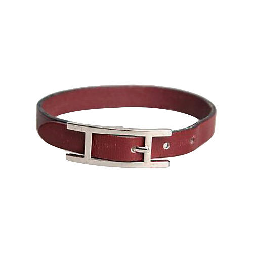 Hermès Burgundy Single Wrap Bracelet