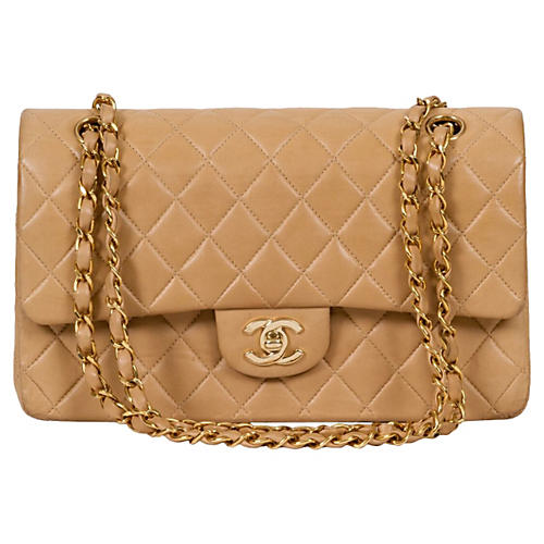 Chanel Beige Double-Flap Classic Bag