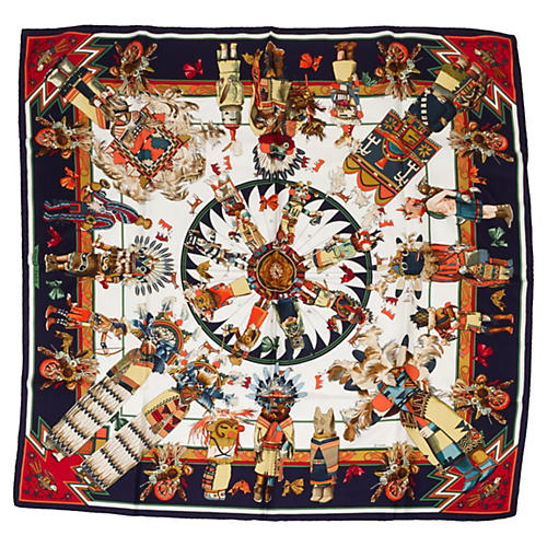 Hermès Navy Kachinas Scarf by Oliver
