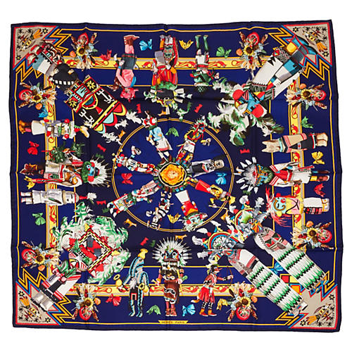 Hermès Kachinas Royal Blue Scarf, Oliver
