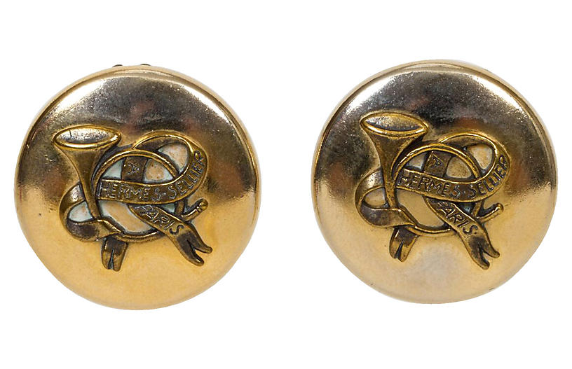 Hermès Gold Cornucopia Clip Earrings