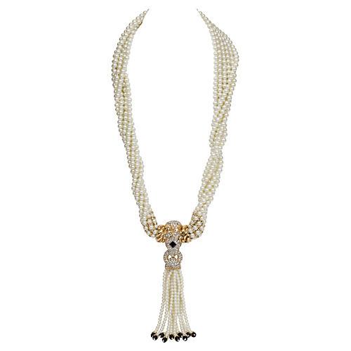 KJL Pearl Lariat Snake Pendant Necklace