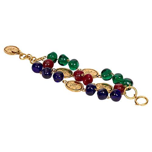 Chanel Triple Gripoix & Coin Bracelet