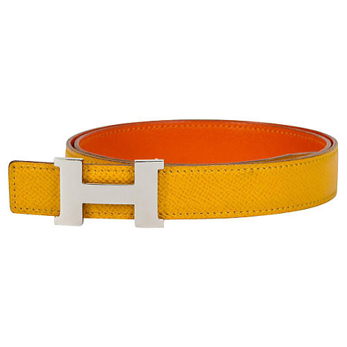 Hermès Yellow & Orange Thin H Belt