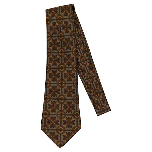 Hermès Brown Geometric Silk Tie