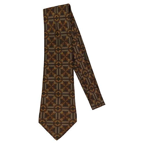 Hermès Brown Geometric Silk Tie