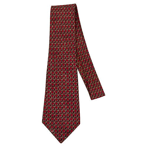 Hermès Burgundy Silk Tie w/ Gray Chain