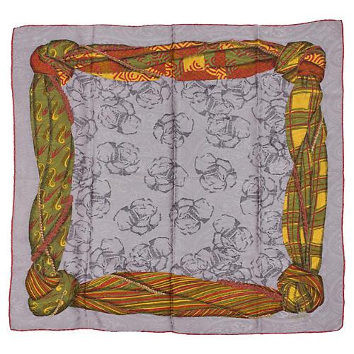 Lanvin Gray Tartan Silk Scarf